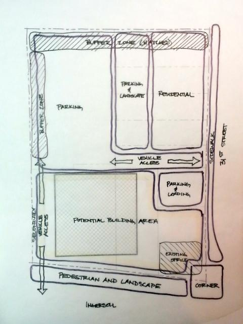 """Charette"" Sketch of Pedestrian-Oriented Development"