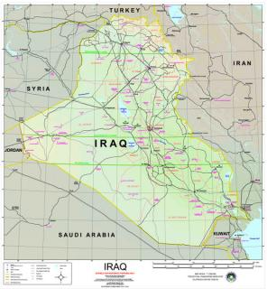 Map of Iraq: This map of Iraq is in the public domain, courtesy of Wikimedia Commons.