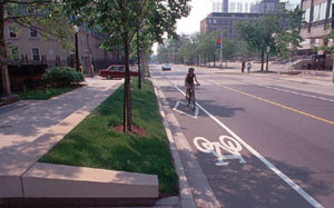 Bike-Friendly Street in Toronto: Copyright notice: This image was downloaded from Wikimedia Commons and is in the public domain.