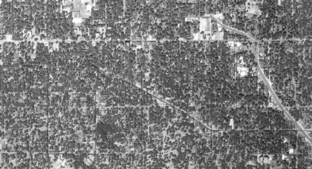 Interstate 235 Path - 1950: Aerial photo of the neighborhoods through which Interstate 235 will carve a destructive path.