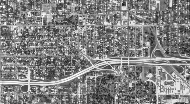 Interstate 235 Path - 1970: Interstate 235 now fully divides formerly historic neighborhoods