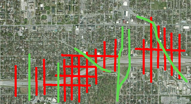 Drake Neighborhood Roads Eliminated by I235: Physical and perceptual connection across a divided interstate is extremely difficult.  Note how the historic neighborhoods were bisected.
