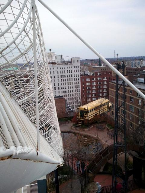 A Bus and a Slide.  On the Roof.: How cool is it to be wandering around downtown St. Louis and happen upon a bus on a roof?