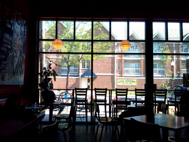 Working at Mars Cafe: Morning work at Mars Cafe on University by Drake - note my bike parked outside the window.