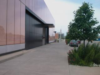 Des Moines Central Library Loading Dock: This is the main facade as a pedestrian approaches from the east on Grand.
