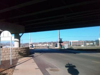 Walking Under Highway 61 in Dubuque