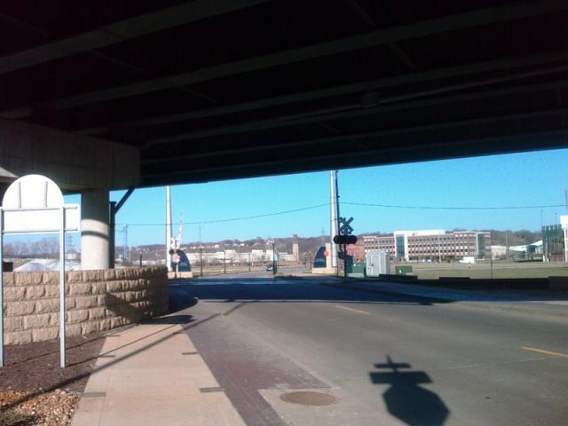 Walking Under Highway 61 in Dubuque