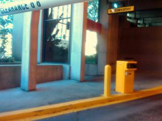 Inaccessible Curb at Elevator - 7th & Grand Parking Garage