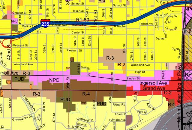 Ingersoll Neighborhood Pedestrian Commercial Zoning Map
