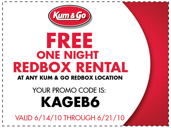Free Redbox Coupon: Kum and Go is offering a FREE Redbox rental between June 14 and June 21, 2010.