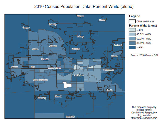2010 Census Map - White as a Percentage of Total Population